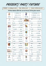 Present and past tense words list