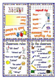 English Worksheet: Welcome back to school Minibook