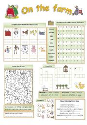 English Worksheet: On The Farm (b/w version included) fully editable