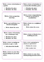English Worksheets: Cards for writing letters (formal / informal)