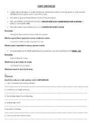 English Worksheets: Cleft sentence