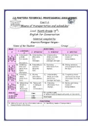 Portada, Lesson Plan Means of transportation, Englis for ...