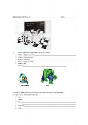 English worksheet: prepositions of place and comparative adjectives