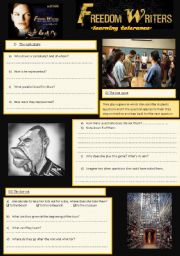 English Worksheet: Freedom Writers 5/7 learning tolerance