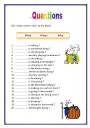 English Worksheets: Question What Who Where