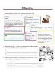 English Worksheets: 1. Different Law - worksheet for speaking on cultural differences + LESSON PLAN - extended!