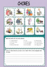 English Worksheet: CHORES: vocabulary and writing exercise