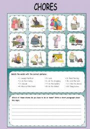 English Worksheets: CHORES: vocabulary and writing exercise