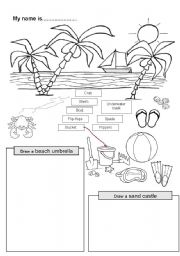 English Worksheet: At the seaside - objects