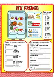 English Worksheet: My fridge- There is-are