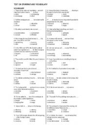 English Worksheet: vocabulary and grammar for TOEIC