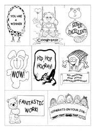English Worksheets: REWARDS (B&W � 2 PAGES)