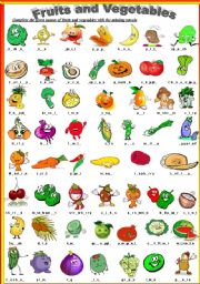 complete names of fruits and vegetables with missing vowels esl
