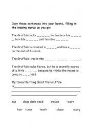 English Worksheets: gruffalo missing words