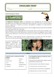 English Test about Sting´s Rainforest Foundation Organization