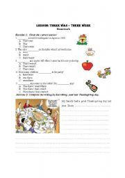English Worksheet: There was, there were