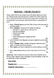 English Worksheet: Heroes - Theme project