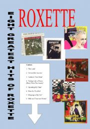 English Worksheet: EIGHT GREATEST HITS OF ROXETTE