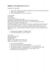 English Worksheet: Conversation. Neighbours