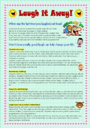 English Worksheets: Reading Comprehension: Laugh it Away!