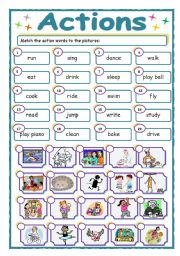 English Worksheets: Vocabulary- action words