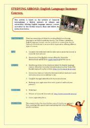 English Worksheet: Studying abroad: English language summer courses