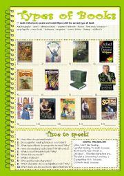 English Worksheet: Types of books