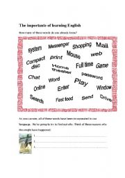 English Worksheets: The importance of learning English