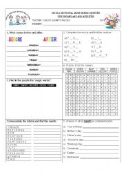 English Worksheets: Review Activity: Colors; Days of the week; Months of the year; Numbers 1-10; Magic words