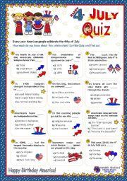 English Worksheet: 4th JULY  QUIZ