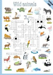 English Worksheet: WILD ANIMALS - CROSSWORD