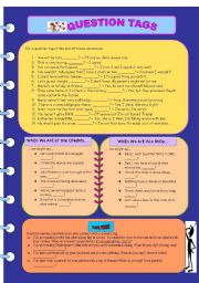 English Worksheets: Question Tags - exercise