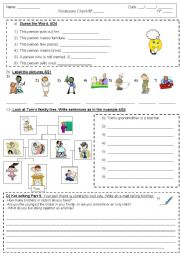 English Worksheet: vocabulary jobs and the family KET writing