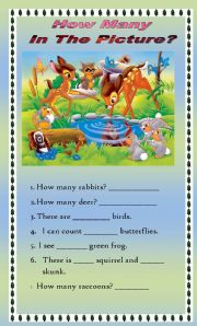 English Worksheets: Picture Comprehension - How many Objects?
