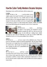 English Worksheets: How the Cullens became vampires