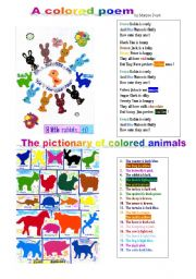English Worksheet: a colored poem and colored animals