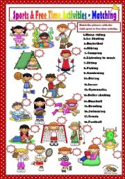 English Worksheet: SPORTS & FREE TIME ACTIVITIES - MATCHING