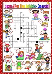 English Worksheet: SPORTS & FREE TIME ACTIVITIES - CROSSWORD