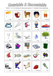 English Worksheets: Countable & Uncountable