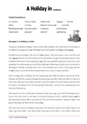 English Worksheets: A Holiday in .....