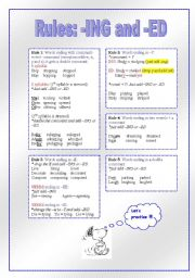 English Worksheets: RULES: -ING and -ED