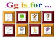 English Worksheets: Gg is for ...with exercise and flash-cards for memory game (3 pages)