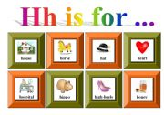 English Worksheets: Hh is for ...with exercise and flash-cards for memory game (3 pages)