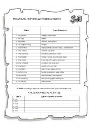 English Worksheet: Vocabulary of Sports and Fitness Activities