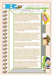 English Worksheet: NO BEES NO HONEY.