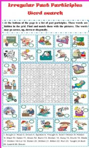 Irregular past participles word search