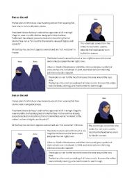 English Worksheets: Class debate: Ban on the Veil