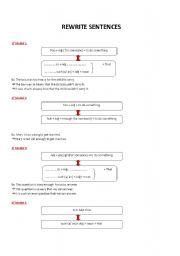 English Worksheets: REWRITE SENTENCES