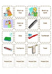 English Worksheets: Personal Care - Memory game