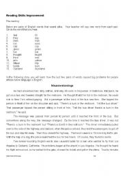 English worksheet: Misunderstandings